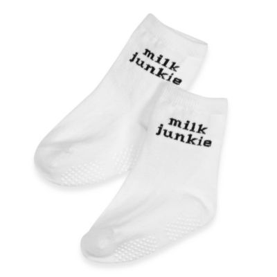 Silly Souls® Milk Junkie in Socks in 1-2 years in White