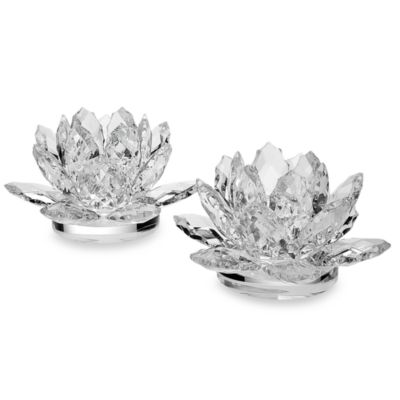 Godinger Dublin Crystal Lotus 3-Inch Candle Holders (Set of 2)