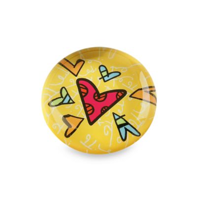 Britto™ by Giftcraft Heart Design Glass Magnet in Yellow