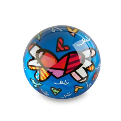 Britto™ by Giftcraft Heart Design Glass Paper Weight in Blue