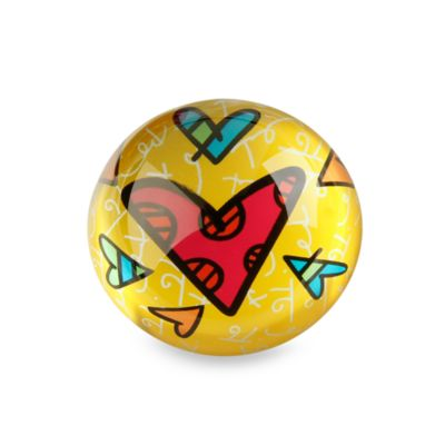 Britto™ by Giftcraft Heart Design Glass Paper Weight in Yellow