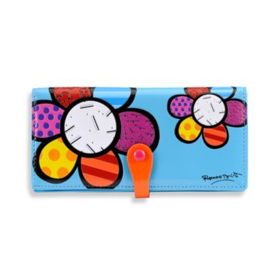 Britto™ by Giftcraft Flower Design Clutch Wallet in Blue