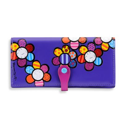 Britto™ by Giftcraft Flower Design Clutch Wallet in Purple