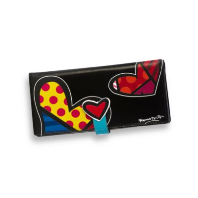 Britto™ by Giftcraft Heart Design Black Clutch Wallet