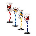 Britto™ by Giftcraft Heart Design Wine Glasses