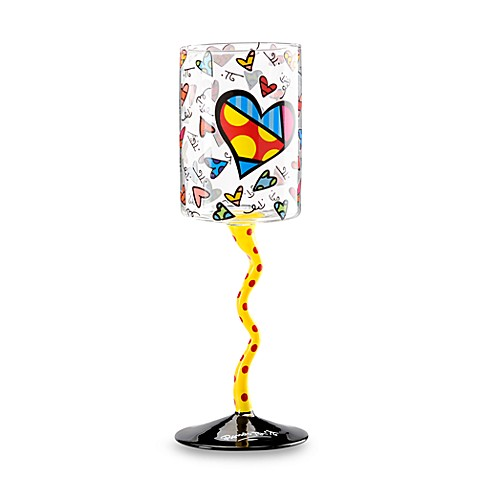 Britto™ by Giftcraft Heart Design 8.8-Ounce Wine Glass with Yellow Stem