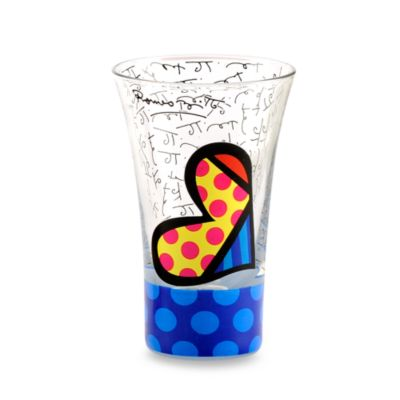 Britto™ by Giftcraft Heart and Blue Polka-Dot 3.4-Ounce Shot Glass