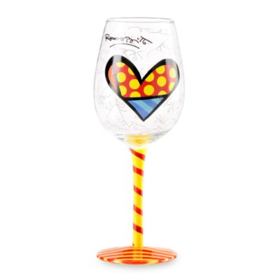 Britto™ by Giftcraft 14.6-Ounce Heart Design Wine Goblet with Yellow Stem