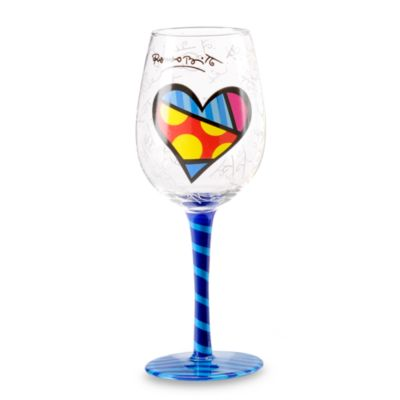 Britto™ by Giftcraft 14.6-Ounce Heart Design Wine Goblet with Blue Stem
