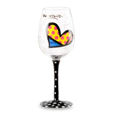 Britto™ by Giftcraft 14.6-Ounce Heart Design Wine Goblet with Black Stem