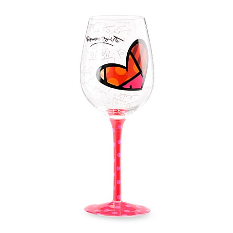 Britto™ by Giftcraft 14.6-Ounce Heart Design Wine Goblet with Pink Stem