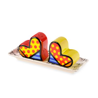Britto™ by Giftcraft Heart Design 3-Piece Ceramic Salt & Pepper Shaker with Tray Set