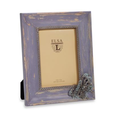 Weathered Wood 5-Inch x 7-Inch Frame with Butterfly Attachment in Lavender