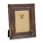 Weathered Wood 5-Inch x 7-Inch Frame with Flower Attachment in Cognac