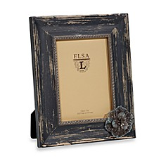 Weathered Wood 5-Inch x 7-Inch Frame with Flower Attachment in Charcoal