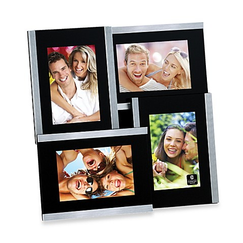 Cupecoy Design 4-Opening Brushed Nickel and Black Frame