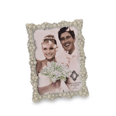 Pearls and Crystals Silver Plated 5-Inch x 7-Inch Wedding Frame