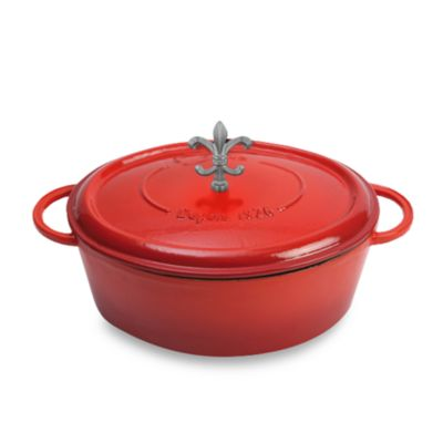 Fontignac Oval Cast Iron 4.5-Quart Casserole with Fleur de Lis Knob in Red