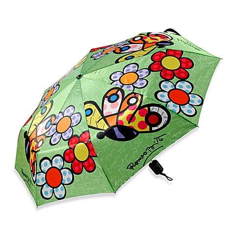 Britto™ by Giftcraft Butterfly and Flowers Collapsible Travel Umbrella
