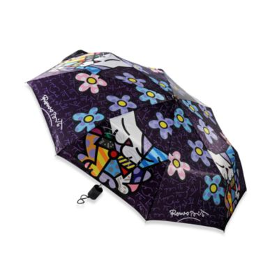 Britto™ by Giftcraft Cat and Flowers Collapsible Travel Umbrella
