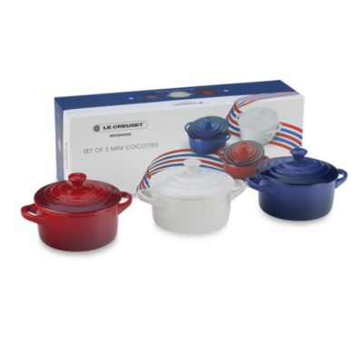 Le Creuset® Mini Cocottes in Cherry/Cobalt/White
