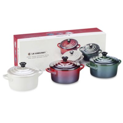 Le Creuset® Mini Cocottes in Cherry/Green/White