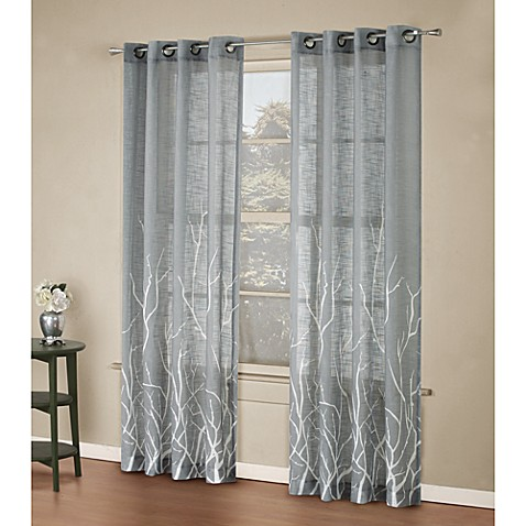 Alton Print 95-Inch Grommet Top Panel in Grey