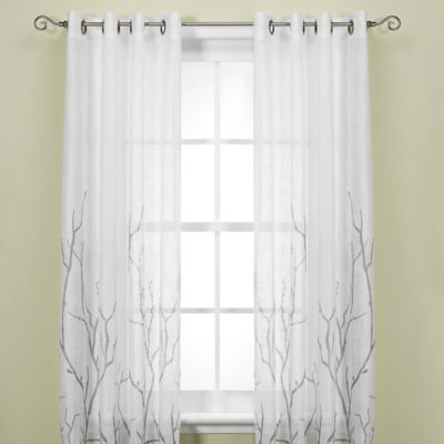 Alton Print 95-Inch Grommet Top Panel in White