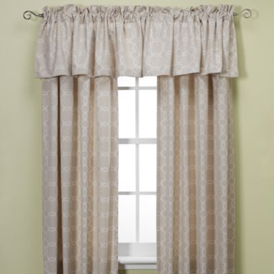 Westport Geo Rod Pocket/Back Tab Window Valance in Blue