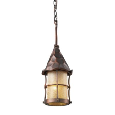 Rustica Outdoor Single Light Pendant With Antique Copper Finish and Amber Glass