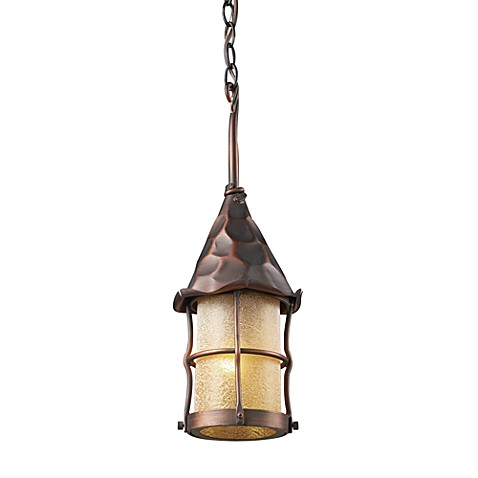 ELK Lighting Rustica Outdoor Single Light Pendant With Antique Copper Finish and Amber Glass