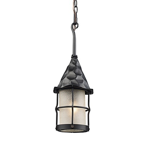 ELK Lighting Landmark Rustica Outdoor Pendant Lighting in Matte Black