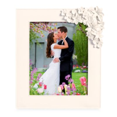 White 8-Inch x 10-Inch Photo Frame With Floral Accent