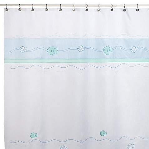 Fish Wave 70-Inch W x 72-Inch L Fabric Shower Curtain