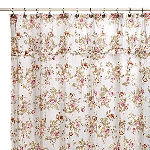 Ashley Floral 70 Inch W X 72 Inch L Fabric Shower Curtain