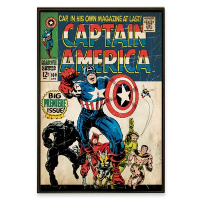 Captain America Marvel Comic Book Wall Art