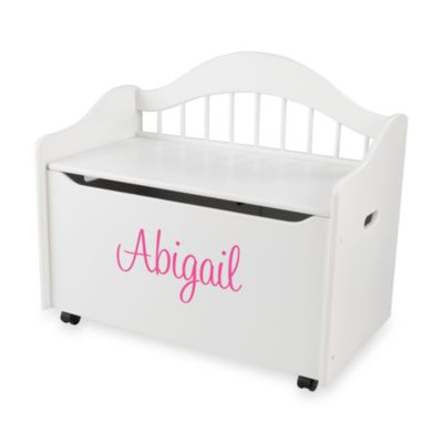 "KidKraft® ""Madison"" Toy Box in in White with Pink Lettering"