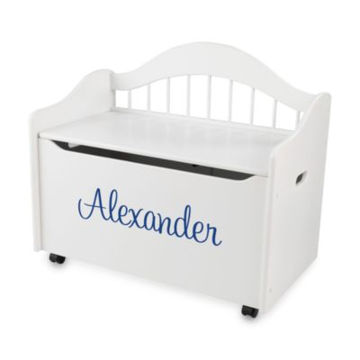 "KidKraft™ ""Samuel"" Toy Box in White with Blue Lettering"
