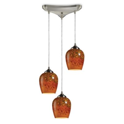 ELK Lighting Claudio 1-Light Pendant Ceiling Lamp Satin Nickel/Autumn