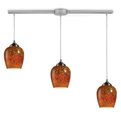 ELK Lighting Claudio 3-Light Pendant Ceiling Lamp Satin Nickel/Linear Autumn