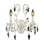 ELK Lighting Crystal Leaf 2-Light Wall Sconce in Antique White