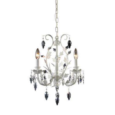 ELK Lighting Crystal Leaf 3-Light Chandelier in Antique White