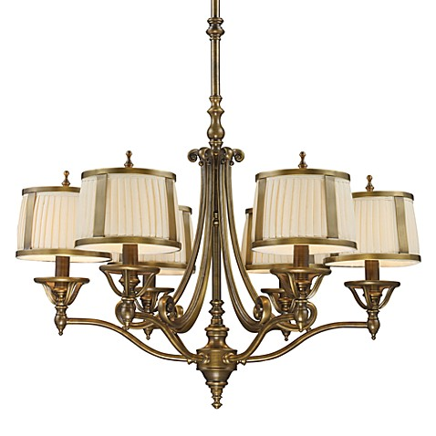 ELK Lighting Williamsport 6-Light Shaded Chandelier in Vintage Brass Patina