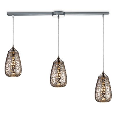 ELK Lighting Nestor 3-Light Linear Pendant Ceiling Lamp in Chrome