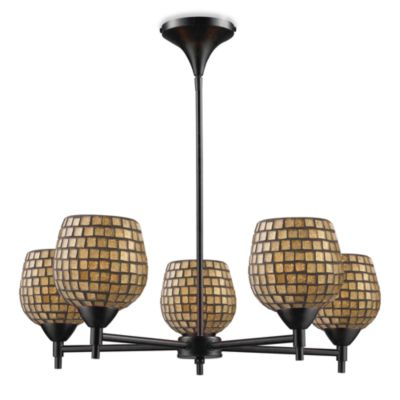 ELK Lighting Celina 5-Light Chandelier in Dark Rust/Gold Leaf