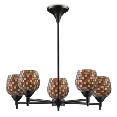 ELK Lighting Celina 5-Light Chandelier in Dark Rust/Multi Fusion