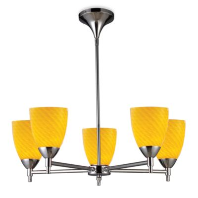 ELK Lighting Celina 5-Light Chandelier in Polished Chrome/Canary