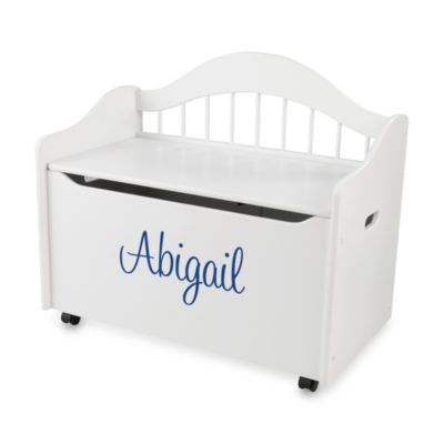 "KidKraft® ""Taylor"" Toy Box in White with Blue Lettering"