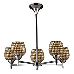 ELK Lighting Celina 5-Light Chandelier in Polished Chrome/Gold Leaf