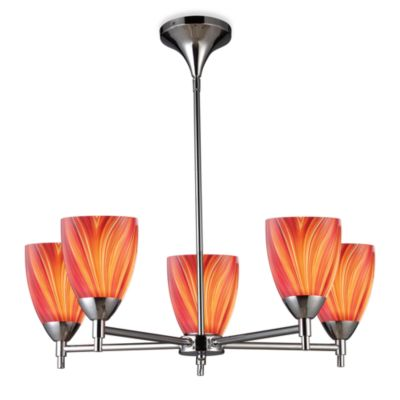 ELK Lighting Celina 5-Light Chandelier in Polished Chrome/Multi